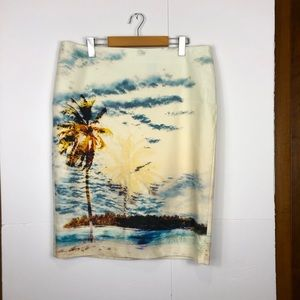 Lord & Taylor Watercolour Midi Skirt Sz 14